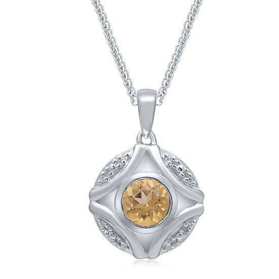 Universe Fine Jewelry By Marvel Womens Diamond Accent Genuine Yellow Topaz Sterling Silver Marvel Pendant Necklace