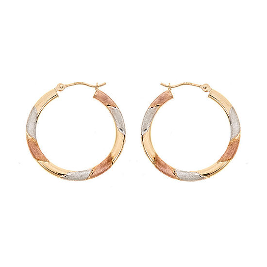 14K Tri-Color Gold 15mm Hoop Earrings