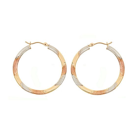 14K Tri-Color Gold 30mm Hoop Earrings