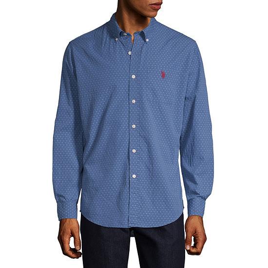 U.S. Polo Assn. Mens Long Sleeve Dots Button-Front Shirt