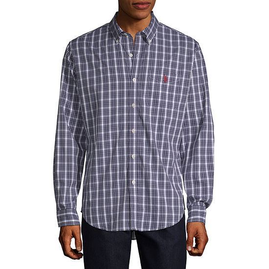 U.S. Polo Assn. Stretch Mens Long Sleeve Plaid Button-Front Shirt Slim