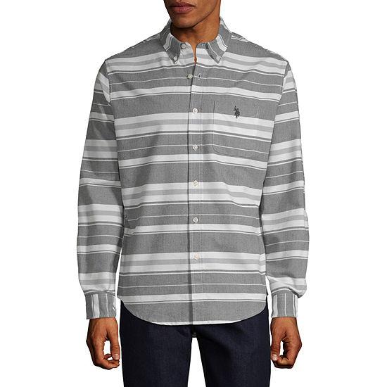 U.S. Polo Assn. Mens Long Sleeve Striped Button-Front Shirt Slim