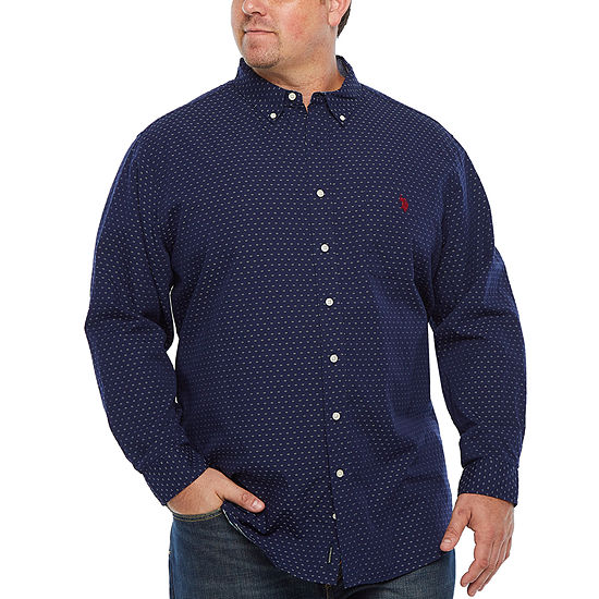 U.S. Polo Assn. Mens Long Sleeve Button-Front Shirt Big and Tall