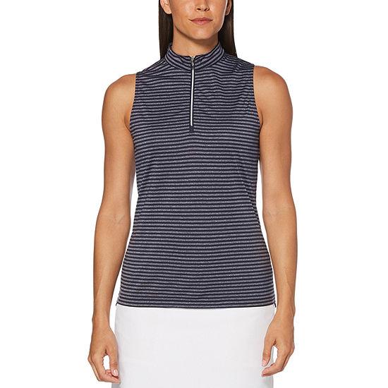PGA TOUR Womens Mock Neck Sleeveless Polo Shirt