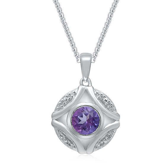 Universe Fine Jewelry By Marvel Womens Diamond Accent Genuine Purple Topaz Sterling Silver Marvel Pendant Necklace