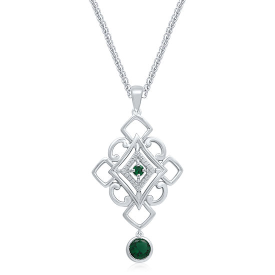 Universe Fine Jewelry By Marvel Womens Diamond Accent Genuine Green Topaz Sterling Silver Marvel Pendant Necklace