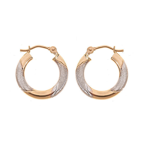 14K Two Tone Gold 15mm Hoop Earrings