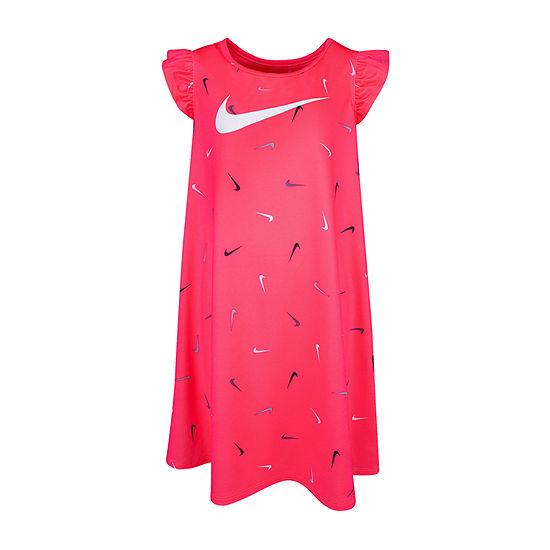 Nike Girls Short Sleeve Cap Sleeve Confetti A-Line Dress - Big Kid