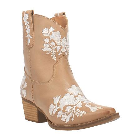 70s Shoes, Platforms, Boots, Heels | 1970s Shoes Dingo Womens Take A Bow Booties Block Heel 9 12 Medium Beige $103.96 AT vintagedancer.com