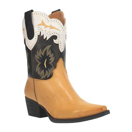 70s Shoes, Platforms, Boots, Heels | 1970s Shoes Dingo Womens Tatiana Booties Block Heel 9 Medium Yellow $111.96 AT vintagedancer.com