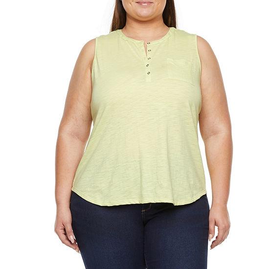 Liz Claiborne Plus Womens Henley Neck Sleeveless Tank Top