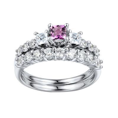 DiamonArt® Pink & White Cubic Zirconia Sterling Silver 3-Stone Bridal Ring Set