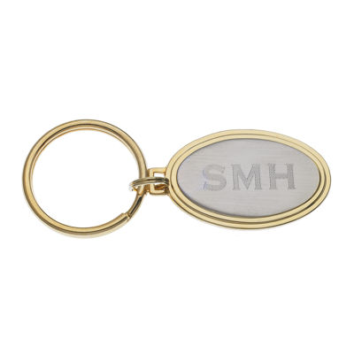 Personalized Two-Tone Oval Key Ring