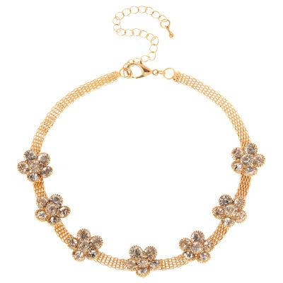 Natasha Accessories Womens Clear Flower Choker Necklace