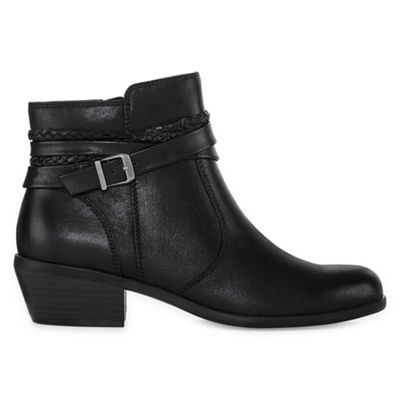 Yuu Womens Pamin Booties Stacked Heel Zip