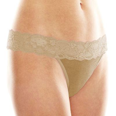 Ambrielle®  Cotton Lace-Trim Thong Panties