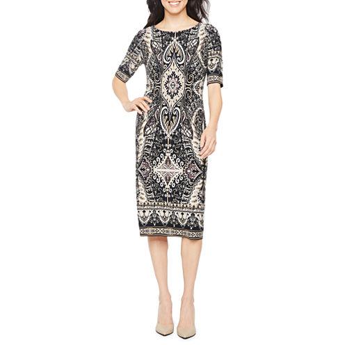 Ronni Nicole Elbow Sleeve Scroll Sheath Dress