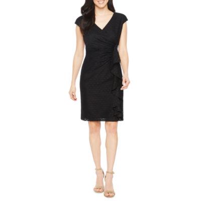 Black Label by Evan-Picone Short Sleeve Lace Sheath Dress