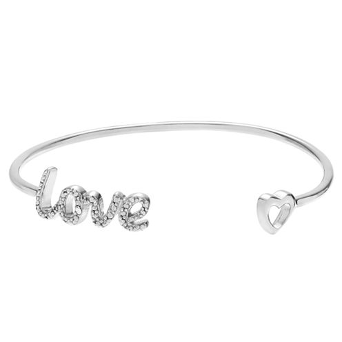 Womens Diamond Accent White Diamond Sterling Silver Bangle Bracelet