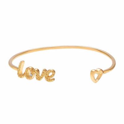 Womens Diamond Accent White Diamond 18K Gold Over Silver Bangle Bracelet