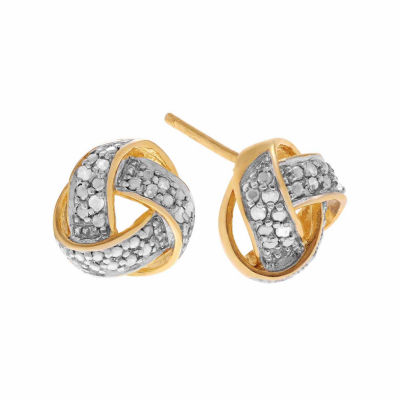 Diamond Accent Round White Diamond 18K Gold Over Silver Stud Earrings