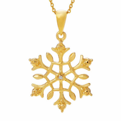 Womens Diamond Accent White Diamond 14K Gold Over Silver Pendant Necklace
