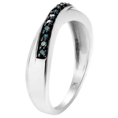 Womens 1/8 CT. T.W. Color Enhanced Blue Diamond Sterling Silver Band