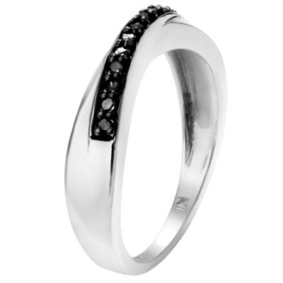 Womens 1/8 CT. T.W. Color Enhanced Black Diamond Sterling Silver Band