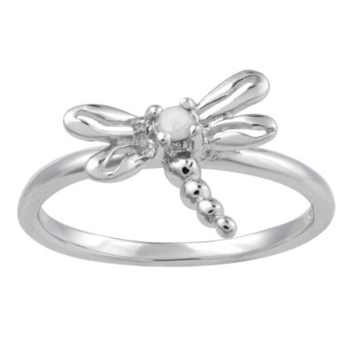 Womens Diamond Accent Sterling Silver Dragonfly Ring