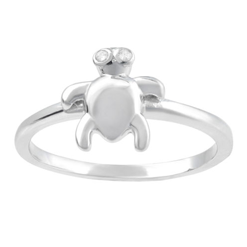 Womens Diamond Accent Sterling Silver Turtle Ring