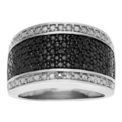 Womens White & Color-Enhanced Black Diamond Accent Sterling Silver Band