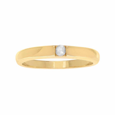 Womens Diamond Accent Genuine White Diamond 18K Gold Over Silver Band