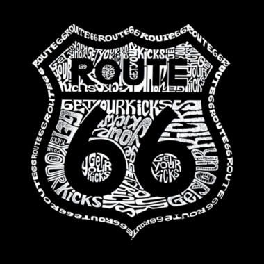 Los Angeles Pop Art Get Your Kicks On Route 66 Long Sleeve Girls Word Art T-Shirt