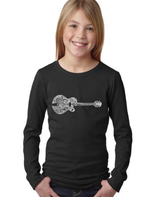 Los Angeles Pop Art Country Guitar Long Sleeve Girls Word Art T-Shirt