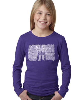 Los Angeles Pop Art Brooklyn Bridge Long Sleeve Graphic T-Shirt Girls