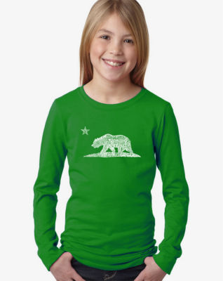 Los Angeles Pop Art California Bear Long Sleeve Graphic T-Shirt Girls