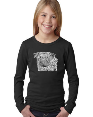 Los Angeles Pop Art Pug Face Long Sleeve Graphic T-Shirt Girls