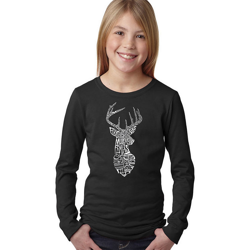 image of Los Angeles Pop Art Types Of Deer Long Sleeve Graphic T-Shirt Girls - Graphic T-Shirts - Black - Size - Small - Size Black - Kids