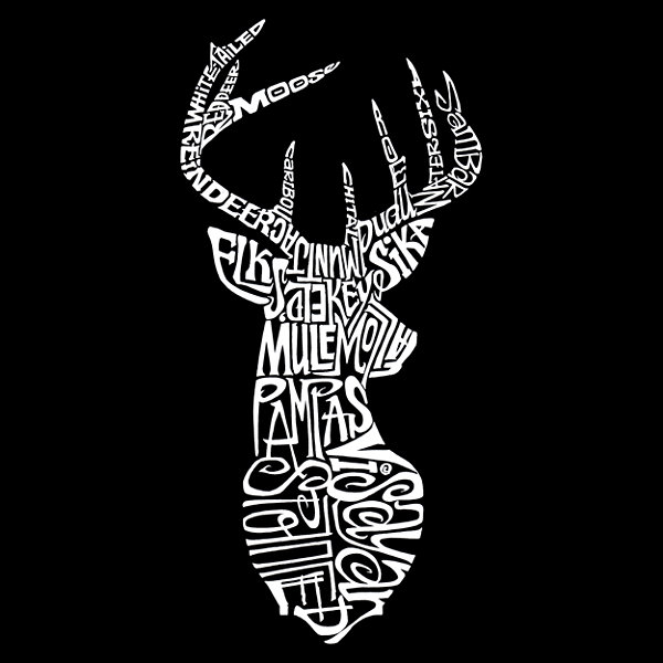 Los Angeles Pop Art Types Of Deer Long Sleeve Girls Word Art T-Shirt
