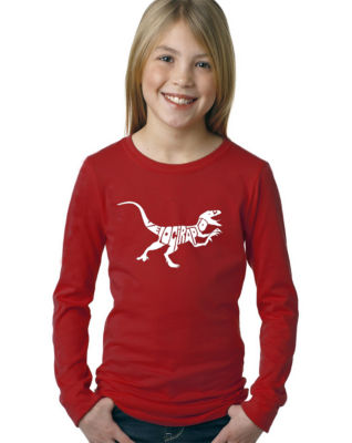 Los Angeles Pop Art Velociraptor Long Sleeve GirlsWord Art T-Shirt