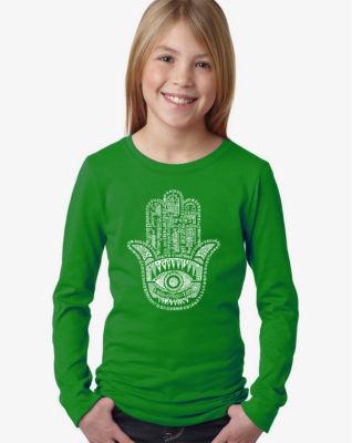 Los Angeles Pop Art Hamsa Long Sleeve Girls Word Art T-Shirt