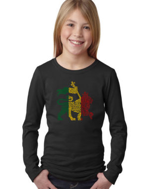 Los Angeles Pop Art Rasta Lion - One Love Long Sleeve Girls Word Art T-Shirt