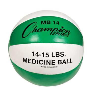 Champion Sports 14-15lb Leather Medicine Ball