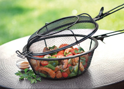 Outset BBQ Chrome Grill Basket with Rosewood Handle