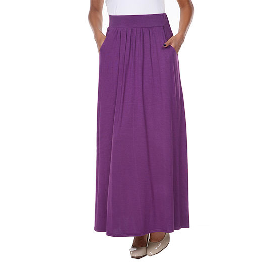 White Mark Womens Mid Rise Stretch Maxi Skirt