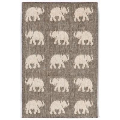 Liora Manne Terrace Elephants Rectangular Indoor/Outdoor Rugs