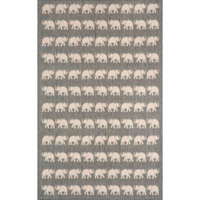 Liora Manne Terrace Elephants Rectangular Indoor/Outdoor Area Rug