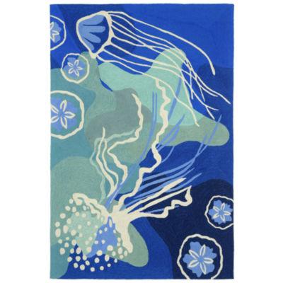 Liora Manne Capri Jelly Fish Hand Tufted Rectangular Indoor/Outdoor Area Rug