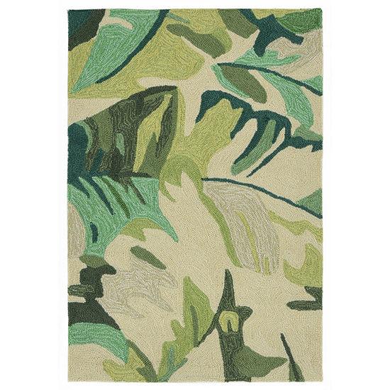 Liora Manne Capri Palm Leaf Hand Tufted Rectangular Indoor/Outdoor Rugs