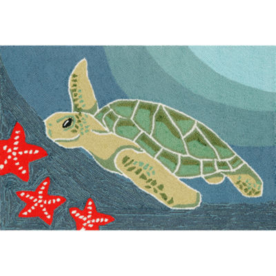 Liora Manne Frontporch Sea Turtle Hand Tufted Rectangular Indoor/Outdoor Rugs
